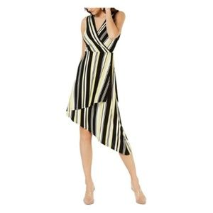 INC Womens Striped Sleeveless Wrap Dress